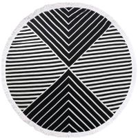 China Hot sell 100% Cotton Tassels Round Swimming Beach Towel Black White Stripe Circle Beach Towel wholesale