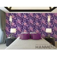 Buy cheap Purple Floral Pattern 3D Home Wallpaper , PVC 1.06M 3D Wallpaper For Room Wall from wholesalers