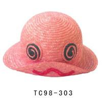 China 56cm Pink Cute Childrens Sun Hat For Summer , 7mm Straw Braid Leisure Sun Hats wholesale