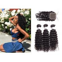 Buy cheap Cheap Deep Curly Hair Brazilian Human Hair 3 Bundles With Closure from wholesalers