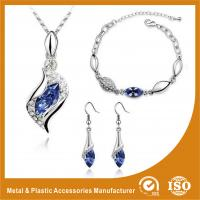 China Charming Gold Blue Crystal Zinc Alloy Jewelry Sets For Bridesmaids wholesale