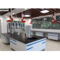 C Frame Steel Stucture Lab Island Bench With Ceramic Countertop and Reagent Shelves