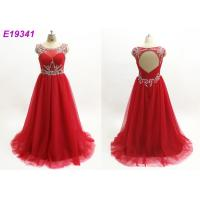 China Red Illusion Maxi Sexy One Piece Scoop Neckline Custom Made Prom Ball Gowns wholesale