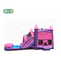 China Beautiful Pink Safety Bouncy Castle With Slide  Four Suture Technology wholesale