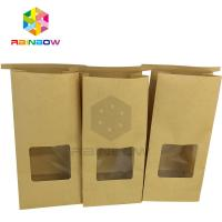 China Clear Window Front Square Bottom Bleached Customized Paper Bags For Tea wholesale