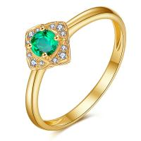 China Green Emerald Engagement Rings In 18k Solid Yellow Gold Fine Jewelry wholesale
