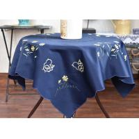 China Chemical Fiber Embroidered Linen Tablecloth , Country Style Square Cotton Tablecloth wholesale