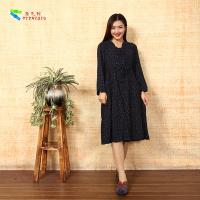 China Vintage Ladies Long Sleeve Dresses Plus Size Notched Collar For Spring / Autumn on sale