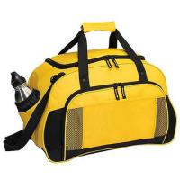 China Yellow Canvas Leather Travel Luggage Bags With Two Seperate Pocket wholesale