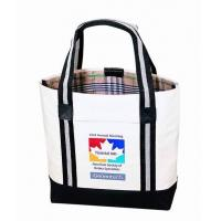 China Custom Canvas Bags With Long Strap Inside Small Zipper Pockets wholesale