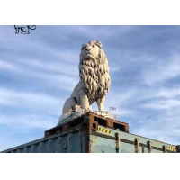 China BLVE Marble Lion Statues Life Size Withe Stone Animal Sculptures Garden Decoration Hand Carving wholesale