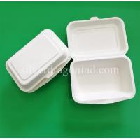 China Disposable Biodegradable Sugarcane Pulp Paper Lunch Box, sugarcane clamshell 600ml wholesale
