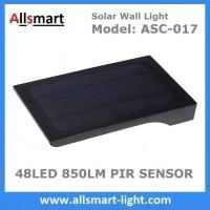 Quality 48LED 850LM PIR Solar Sensor Wall Light With 4400mAh Li-ion Battery Black Lampshade For Road Garden Yard Illuminating for sale