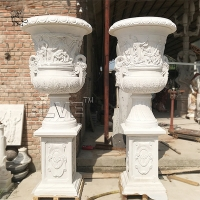 China Large Stone Planter Natural Marble White Flowerpots By Hand Carved wholesale