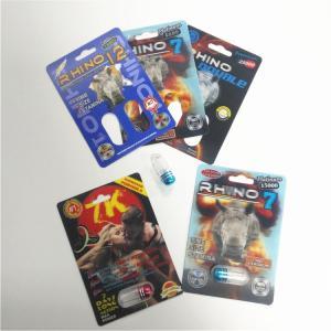 China Custom RHINO 69 Male Enhancement Pill Packaging , 3d Lenticular Packaging Card wholesale