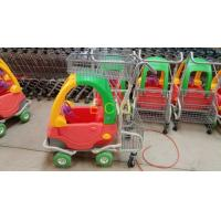 China Grocery Plastic Shopping Trolley , Steel Wire Kiddie Trolley Cart With 4 Elevator Wheels on sale