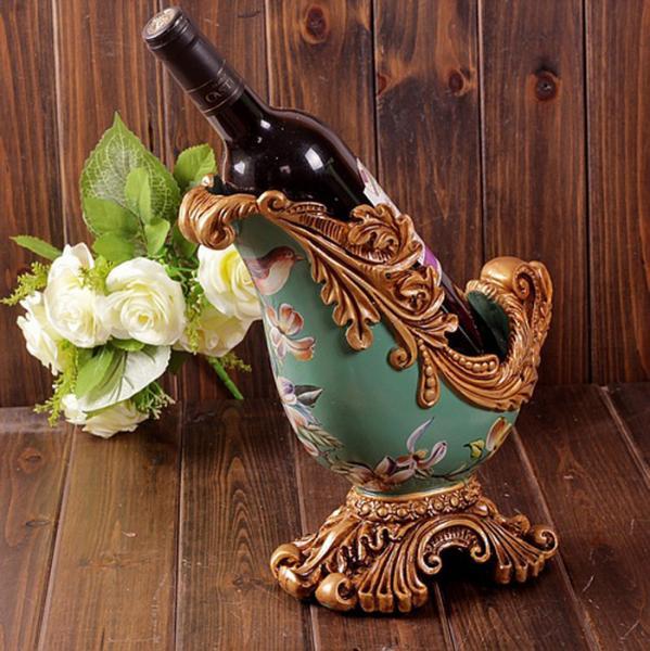Resin Crafts Retro Home Decor Luxury Palace Wine Rack Of