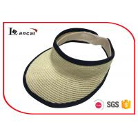China Light weight paper natural visor cap Wide Brimmed Straw Hat with black bound edge wholesale