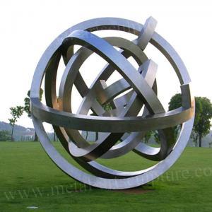 China Matt Surface Ball Annular Metal Sculpture Stainless Steel As Lawn Ornament wholesale