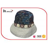 China Cotton Printed Wide Brimmed Straw Womens Summer Hats With Decorative Hatband wholesale