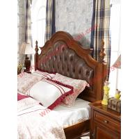 China Leather Upholstery Headboard with Wooden Carving Frame in Bedroom Furniture sets wholesale