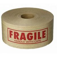 China Reinforced Water Activated Custom Printed Kraft Paper Gummed Tape,Conventional Brown/White Kraft Paper Filament Sticker on sale