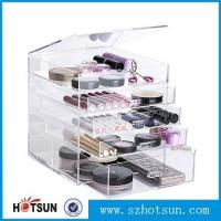 China Diamond Handle Clear Acrylic Makeup Organizer, Acrylic Makeup Drawer Box, Flip Cover Acrylic Cosmetic Storage wholesale