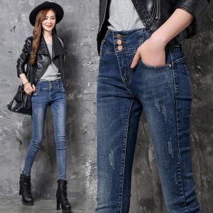 China Jeans Slim leg Fashion Elastic Fabric 98%Cotton  2%Spandex Colour fastness more than 4 class EURO Size High Waist Design wholesale