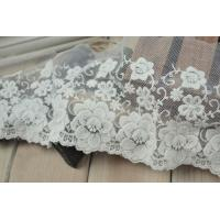 China Soft Graceful White Nylon Lace Trim , Floral Wide Mesh Tulle Lace Trim By The Yard wholesale