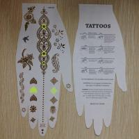 China Fluorescent Flash Metallic Tattoo Stickers Temporary , Festival Tattoo Stickers  wholesale