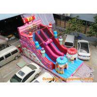 China Pink Commercial Inflatable Slide Combo Fun Games With Logo Pringting wholesale