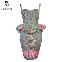 China Summer African Wear Dresses , Ankara Wax Batik Cotton African Fashion Wear Falbala wholesale