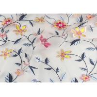 China 120 Cm Embroidered Floral Multi Colored Lace Fabric Gauze For Garment Factory wholesale