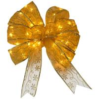 China 9 Inch Organza Gold Red Decorative LED Christmas Bow with Dual Color LED Lights wholesale