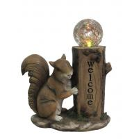 China Classical Squirrel Welcome Garden Solar Light , Animal Solar Lights Outdoor With Glass Ball wholesale