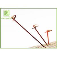 China Red Bamboo BBQ Sticks Knotted Bamboo Skewers For Fruit 70 / 80 / 105 / 120mm wholesale