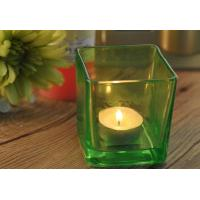 China OEM Large Square Glass Candle Holders , Colored Glass Candle Holders wholesale