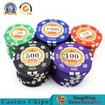 China 14g Iron Core Gambling Poker Chip Set With Sticker Numbers  Circular wholesale