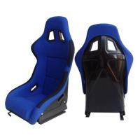 Fabric + Blk Fiber Glass Bucket Racing Seats With Belt Harness Holes
