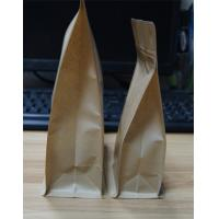 Quality Block Bottom Kraft Paper Snack Bag Packaging Flat Bottom Pouch With Pocket Zipper for sale