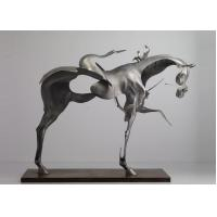 China 170cm Life Size Abstract Stainless Steel Horse Sculpture Brushed Finishing wholesale