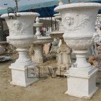 China white marble flowerpots planters white natural stone by hand carved wholesale