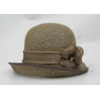 China Fashionable Brown Mesh Bucket Beret Hat For Lady , Floriation Logo With Ribbon wholesale
