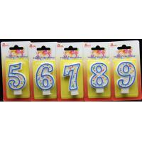 Paraffin Wax Number Birthday Party Candles With Blue Edge Colorful Wave And Dot