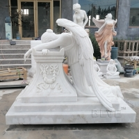China Marble Tombstone White Cemetery Crying Angel  Statue Stone hand carved wholesale