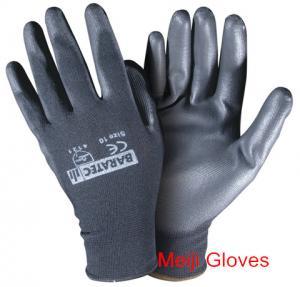 hot sell 13Gauge black pu coated gloves nylon pu safety gloves