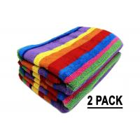 China Promotion Cotton Beach Towels Colorful Stripe Pattern With Soft Hand Feeling wholesale