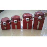 China Red Personalized Ceramic Cookie Jar With Metal Clip And Spoon 10 X 10 X 20 Cm wholesale