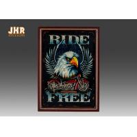 China Resin Motorcycle Wall Decor Wooden Wall Plaques Vertical MDF Framed Wall Signs Pub Sign wholesale