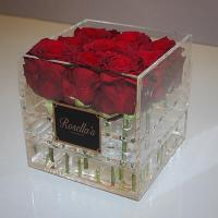China best selling plexiglass display box with cover royal rose acryl clear flower packaging box with logo wholesale